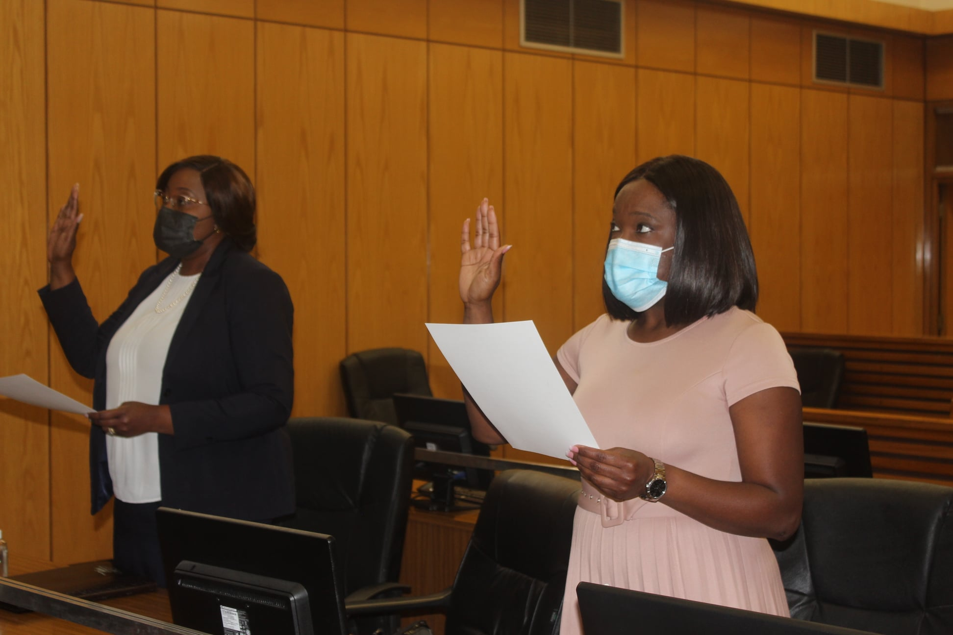 The Oath and Affirmation of office by Mrs. Elsie Nghikembua and Dr. Emmerentia Leonard